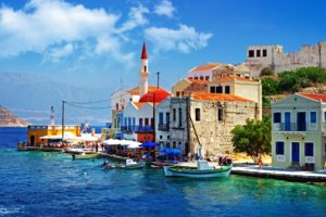greece, Architecture, Buildings, Houses, Islands, Boats, Church, Sky, Clouds, Town