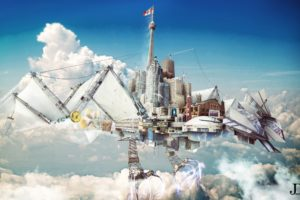creative, Fantastic, World, Clouds, Fantasy, Sci fi, City, Steampunk