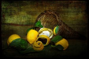lemons, Shopping, Style, Vintage, Still, Life, Fruit, Art, Painting