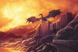 fantasy, Art, Dragons, Castle, Landscapes, Sunset, Sunrise