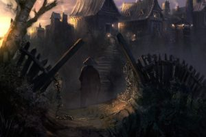 china, Village, Art, Cities, Dark, Fantasy, People, Weapon, Sword, Landscapes, Buildings, Spooky, Creepy