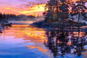 darrell, Bush, Art, Paintings, Lakes, Water, Reflection, Sky, Clouds, Sunset, Sunrise, Boats, Fishing, People, Birds, Islands, Fog