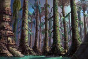 fantasy, Landscapes, Trees, Forest, Woods, Cities, Houses, Jungle, Bridges, Architecture, Art, Paintings, Village, Town, Buildings