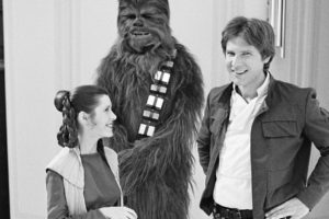 star, Wars, Han, Solo, Harrison, Ford, Chewbacca, Bw, Carrie, Fisher, Princess, Leia, Sci fi, Movies, Black, White, Classic, Wookie, People, Men, Males, Wmone, Females, Babes, Actor, Actress