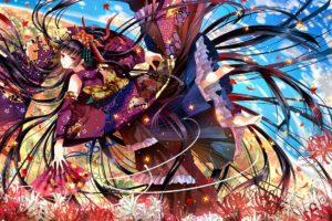 origal, Anime, Art, Nekozuki, Yuki, Girl, Flowers, Fan, Kimono, Vector