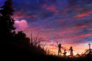 original, Anime, Sunset, Clouds, Silhouette