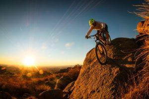 mountain, Bike, Man, Cyclist, Sunrise, Sunset, Landscapes, Sky, Sunlight, Beams, Rays, People, Men, Extreme, Stone, Rock