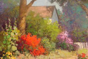sean, Wallis, Country, Bloom, Art, Painting, Garden