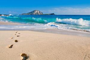 summer, Beaches, Sand, Footprint, Waves, Ocean, Sea, Sky, Clouds, Nature, Island