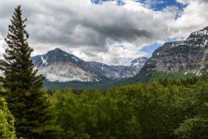 usa, Parks, Mountains, Forest, Glacier, Fir, Clouds, Nature