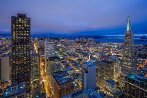 san, Francisco, California, Night, City, Panorama, Buildings