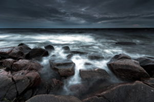 sea, Aeyaey, Night, Rocks, Landscape, Beaches, Ocean, Sky