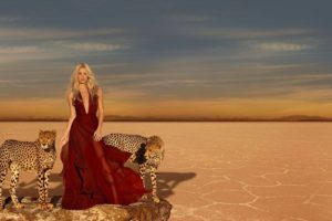 gown, Red, Girl, Beautiful, Dress, Woman, Shakira, Cheetahs, Photography, Photoshoot, Desert, Singer, Beauty, Female