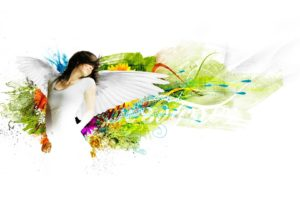 colorful, Angel,  , Art, White