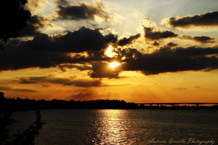beach, Sky, Sunset, Sun, Trees, Lake, Clouds, Colour, Color, Sea, Landscape HD Wallpaper Desktop Background