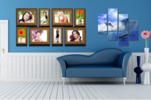 interior, Sofa, Flowers, Vases, Pictures, Polyptych, Dolphins, Faces, Furniture