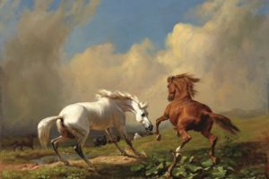 rudolf, Koller, Oil, Art, Horse, Cloud, Sky