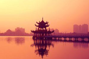 sunset, Cityscapes, Architecture, Bridges, Buildings, Temples