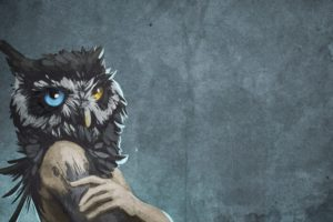 abstract, Blue, Eyes, Animals, Human, Textures, Fantasy, Art, Yellow, Eyes, Owls, Artwork, Bodies