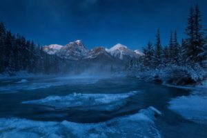 alberta, Canada, Rocky, Mountains, River, Mountain, Forest, Winter, Ice, Floes