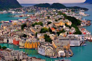 alesund, Norway, Norway, Sky, Sea, Mountains, Houses, Harbor, Landscape, Island, Trees, Bridge, Ship, Boat, Yacht