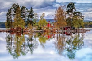 landscape, Sky, Clouds, Trees, Forest, Lake, Water, Reflection, House, Nature, Autumn
