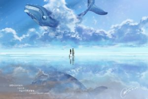 original, Anime, Couple, Sky, Animal, Whale, Blue, Water