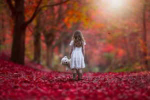 autumn, Littel, Girl, Forest, Sad, Lonely, Alone, Red, Nature, Princess, Doll, Way, Kids, Child