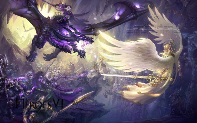heroes, Might, Magic, Strategy, Fantasy, Fighting, Adventure, Action, Online, 1hmm, Warrior, Battle, Angel, Dragon HD Wallpaper Desktop Background