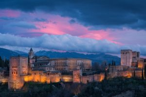 granada, Spain, Alhambra, Spain, Sky, Clouds, Mountains, Night, Sunset, Building, Monument, Lights, City