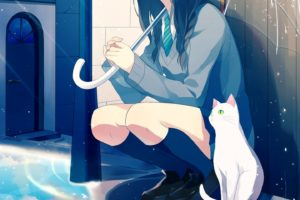 original, Rain, Anime, Girl, Cat, Umbrella, School, Uniform