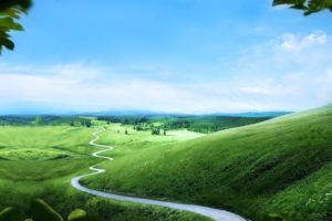 green, Landscapes, Hills, Road, Long, Way, Path, Trees, Nature, Earth, Sky, Clouds