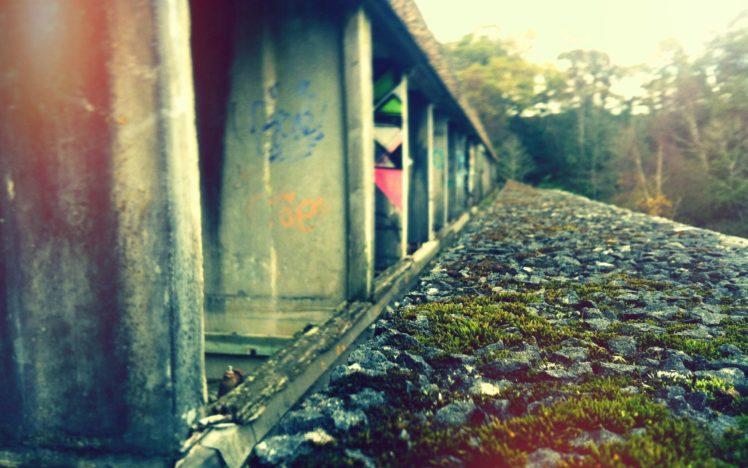 grass, Rocks, Graffiti, Railway HD Wallpaper Desktop Background