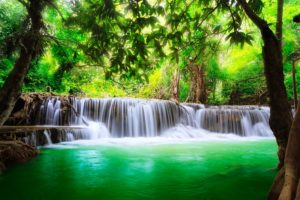 waterfall, Lakes, Nature, Trees, Jungle, Water, Spring, Landscapes, Earth, Beauty