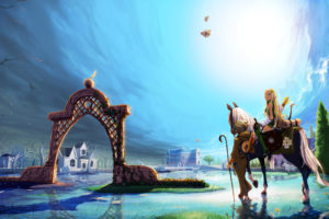art, Mabinogi, Horse, Horse, Girl, Water, Elf, Bow, Arch, City, Buildings, Fantasy, Anime, Original