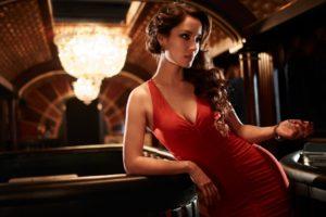 berenice, Marlowe, Girl, Brunette, Actress, Model, Red, Dress, Cut, Cleavage, Film, 007, James, Bond, James, Bond, Skyfall, Movies