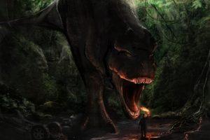 forest, Man, T rex, Danger, Art, Jaws, A, Torch, A, Dinosaur, Dark, Monster