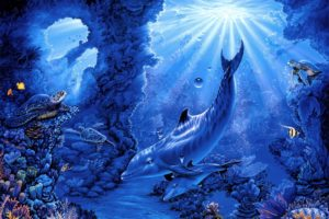 belinda, Leigh, Seabed, Turtles, Fish, Corals, Rays, Art, Dolphins, Dolphin, Sea, Ocean, Underwater