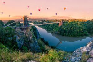 nature, Bridge, Balls, Mountain, Sky, River, Balloon, River