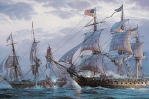 painting, Sea, Battle, Sailing, Frigates, Shots, Damage, Oil, On, Canvas, Ocean, Boat, Boats, Ship, Ships