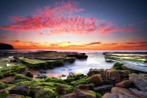 stones, Algae, Sunset, Clouds, Water