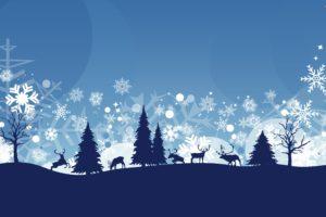 winter, Snow, Nature, Landscape, Deer, Vector