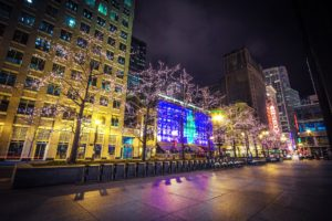 usa, Houses, Chicago, City, Street, Fairy, Lights, Bicycle, Night, Pavement, Illinois, Cities