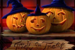 hallowenn, 3, Calabazas, Sombrero, Brujas