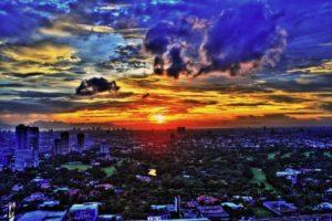 ciudad, Amanecer, Manila, Filipinas