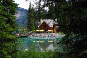 canada, Lake, Parks, Houses, Bridges, Fir, Emerald, Lake, Yoho, National, Park, Nature