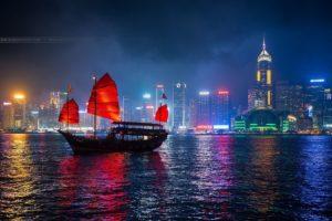 original, Photo, City, Boat, Reflection, Night, Towers, Cityscape, China, Skyscrapers, Hong, Kong