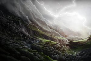 art, Lightning, Glen, Stones, Slope, Waterfall, Rain, Storm, Clouds, Landscape