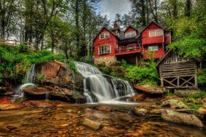 waterfalls, Usa, Houses, Stones, Mill, Shoal, Falls, Pisgah, National, Forest, North, Carolina, Nature