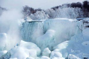 american, Falls, River, Niagara, Ontario, Canada, Snow, Ice, Trees